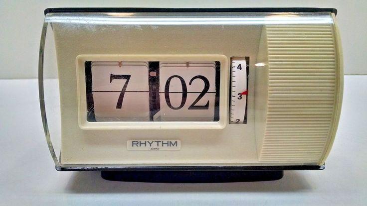 Vintage Japanese RHYTHM Digital Wind Up Flip Alarm Clock 60s/70s #Rhythm