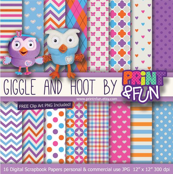 Giggle and Hoot Cute Owl Digital Paper Patterns Background blue pink purple orange chevron for party printables invitations scrapbooking
