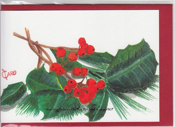 Holly Berries Christmas Card Greeting Card Xmas Card