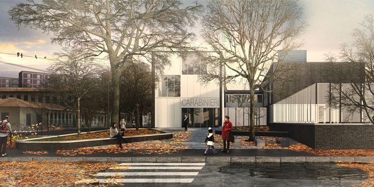OPERASTUDIO - Project - CityLIfe Police Station - View #render #black #bricks #white #steel #fence #red #coat #autumn