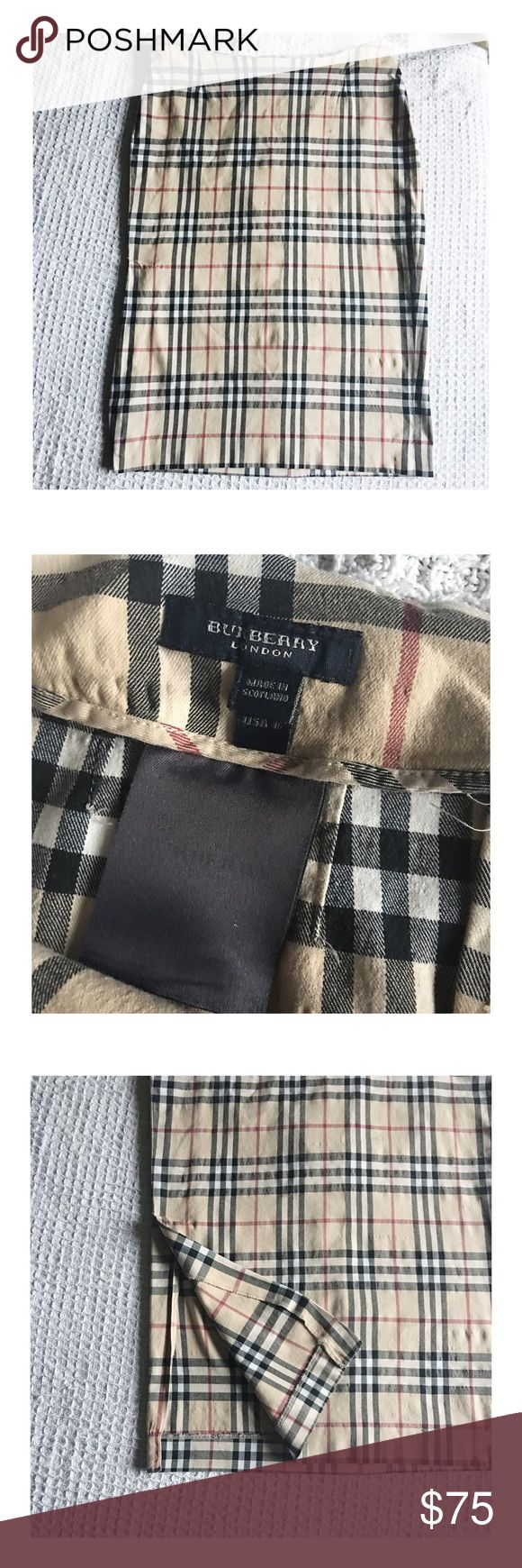 Burberry Plaid Skirt Traditional Burberry print Pencil Skirt size 10.  100% Authentic.  Has slit on one side of Skirt. Burberry Skirts Pencil