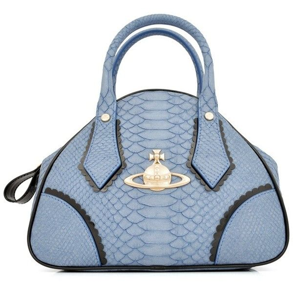 Vivienne Westwood Frilly Snake 5243 Bag | GarmentQuarter ($180) ❤ liked on Polyvore featuring bags, handbags, blue bag, purses, man pouch bag, ruffle handbag, blue handbags, handbag purse and vivienne westwood handbags