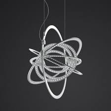 "Copernico by Artemide.   LED.   Rings rotate independantely on different axes.  Can fold flat. 19.25"" diam."