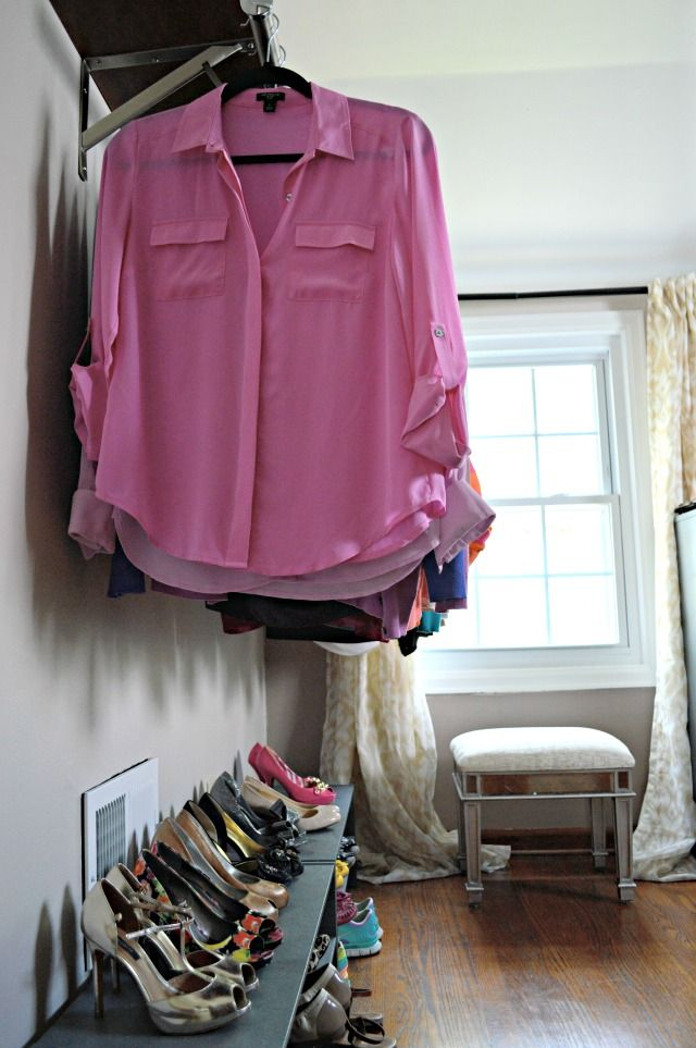 A DIY dressing room in this pretty starter home.  Check out all the details here and get some inspiration for other fun projects
