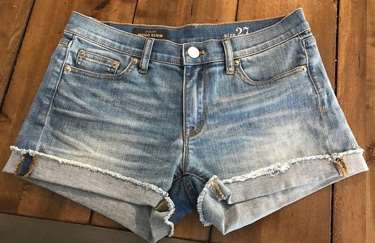 J Crew Women 039 s Indigo Light Denim Stretch Cotton Jean Cut Off Shorts Sz 27 | eBay