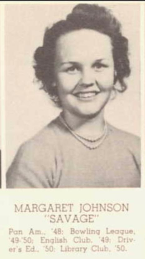 """Was going through my grandmother's yearbook and stumbled upon this woman. I don't know how she got the nickname """"savage"""" but I would love to find out. (1950) http://ift.tt/2gntypk"""
