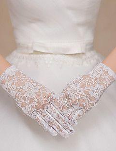 Csukló Ujjbegy Kesztyű Csipke Tüll Menyasszonyi kesztyűk Estélyi kesztyűk Tavasz Nyár Ősz Tél Csipke
