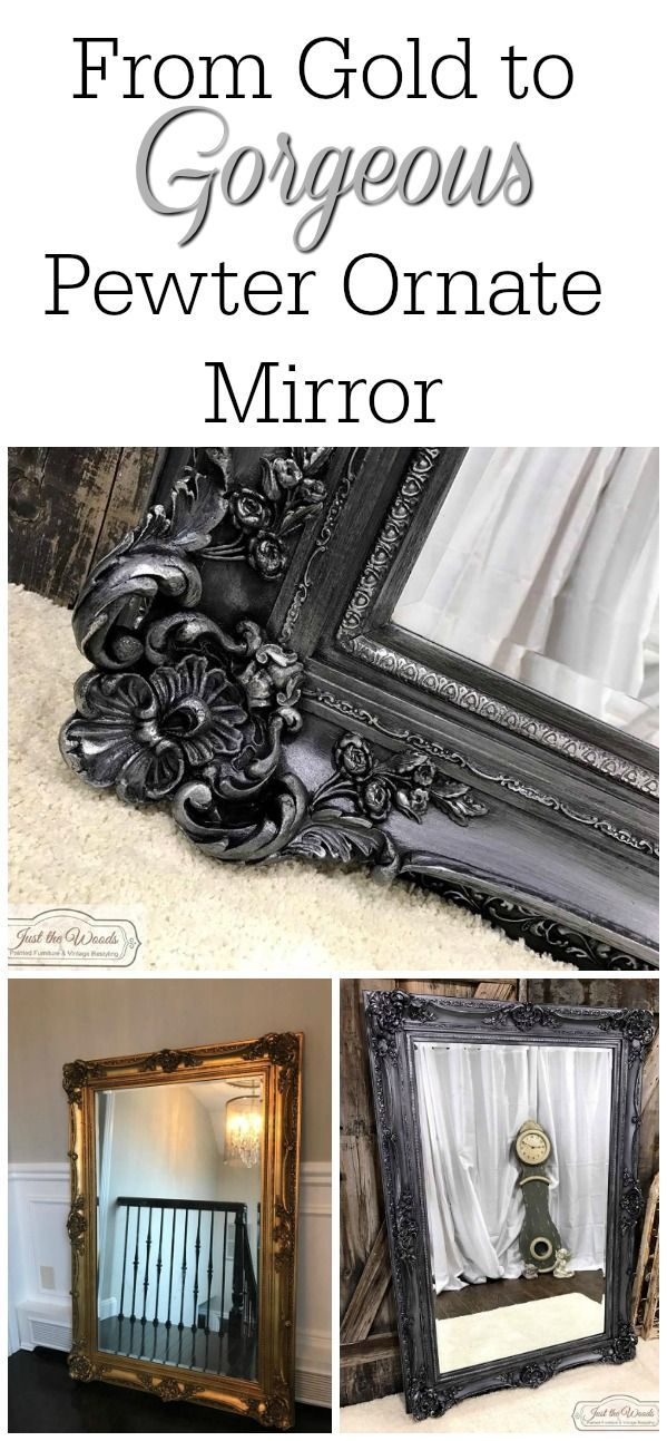 From gold to gorgeous pewter. A vintage ornate mirror with amazing details has been hand painted a metallic pewter  to create a new look from its original gold