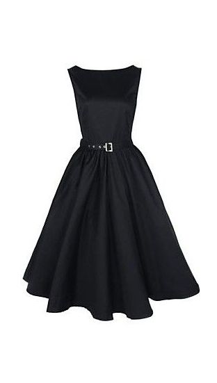 Women's Boat Neck Vintage Sleeveless Rockabilly Swing Audrey Retro Dress - I love this cut