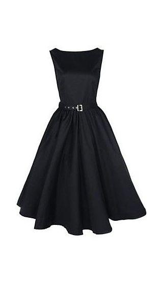 Women's Boat Neck Vintage Sleeveless Rockabilly Swing Audrey Retro Dress - I love this cut