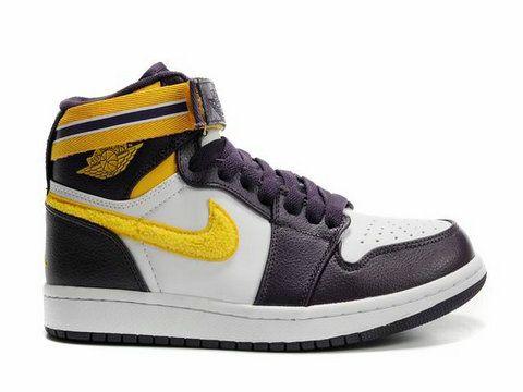 Air Jordan 1 High Strap Grand Purple Varsity Maize White,Style code:342132-