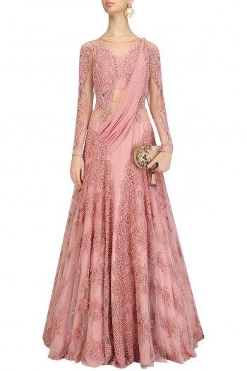 Gaurav Gupta  Old Rose Embroidered Lehenga Sari  #happyshopping #shopnow #ppus