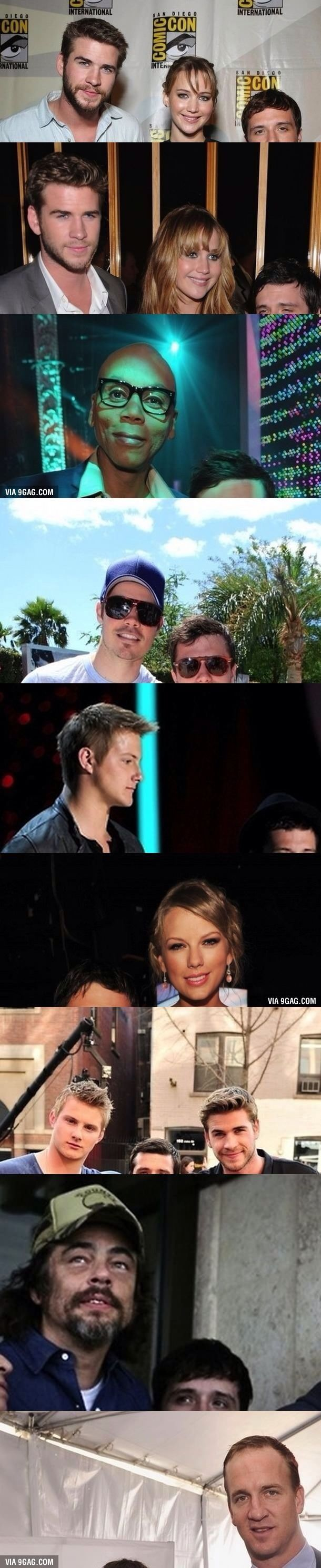 Josh with other celebs. Poor thing.