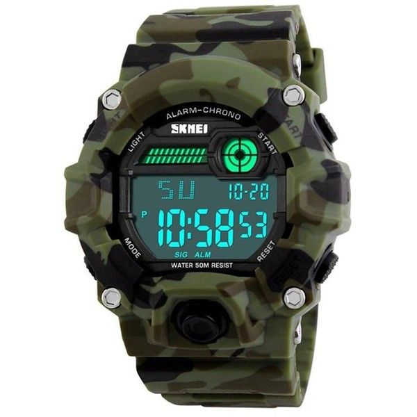 Men's Digital LED Sports Watch,Waterproof Electronic Casual Military... ($13) ❤ liked on Polyvore featuring men's fashion, men's jewelry, men's watches, mens silicone watches, mens military watches, mens sport watch and mens waterproof watches