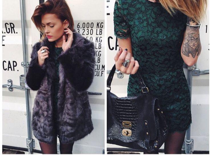 Caroline Receveur manteau fourrure et combishort Zara