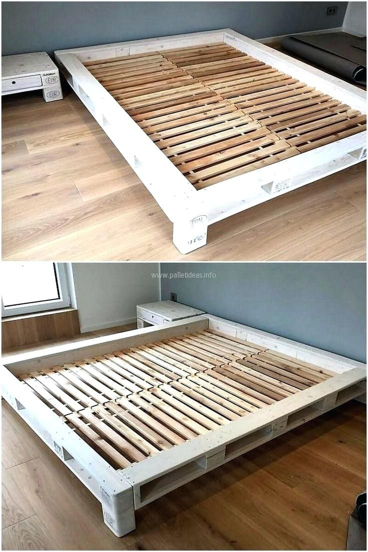 King Size Pallet Bed Frame Instructions With Drawers Queen Pallet Bed Frame Diy Wood Pallet Beds Wood Pallet Bed Frame