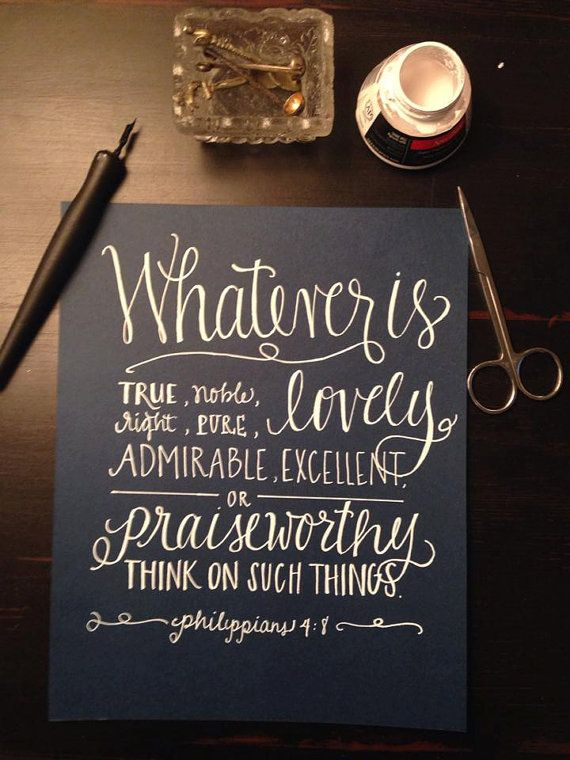 Philippians 48 Whatever is Lovely 8x10 Print by LettersofGracebyT, $13.00