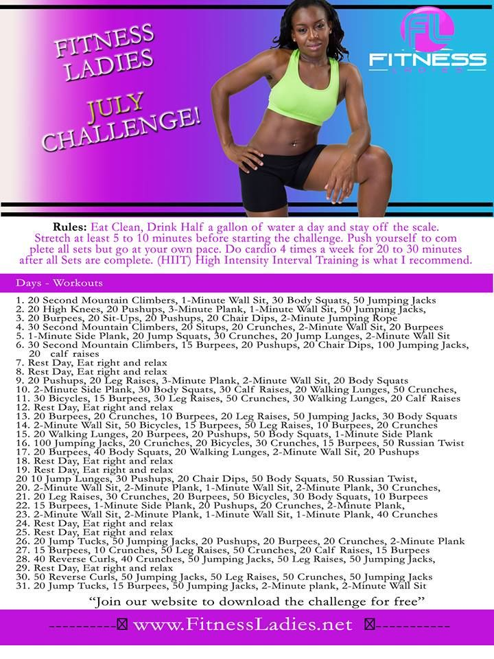 Fitness Ladies July Challenge!!! | Huff & puff | Pinterest ...
