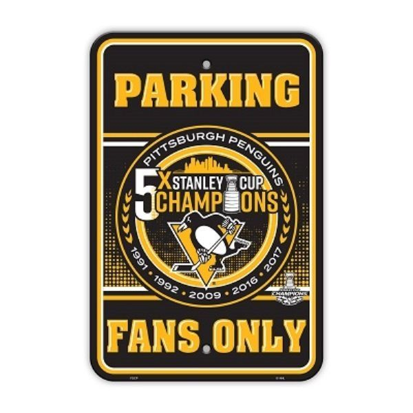2017 NHL Stanley Cup Champions Pittsburgh Penguins 5x Champion Parking Sign #BSI #PittsburghPenguins