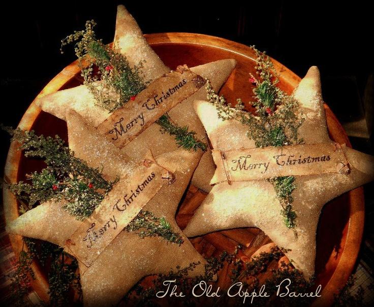 Primitive Christmas Stars Bowl Fillers Set of Three