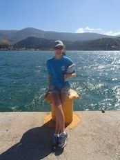 Rachael collecting observational data at the Argostoli harbor   | check it out at http://wildlifesense.com
