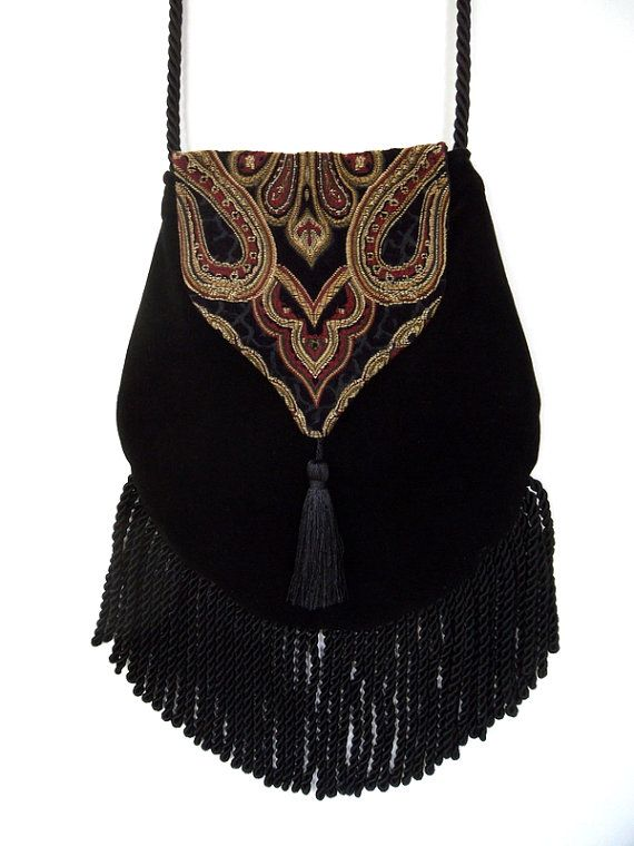 Con tapiz gitana bolsa negro Cross Body Bag por piperscrossing