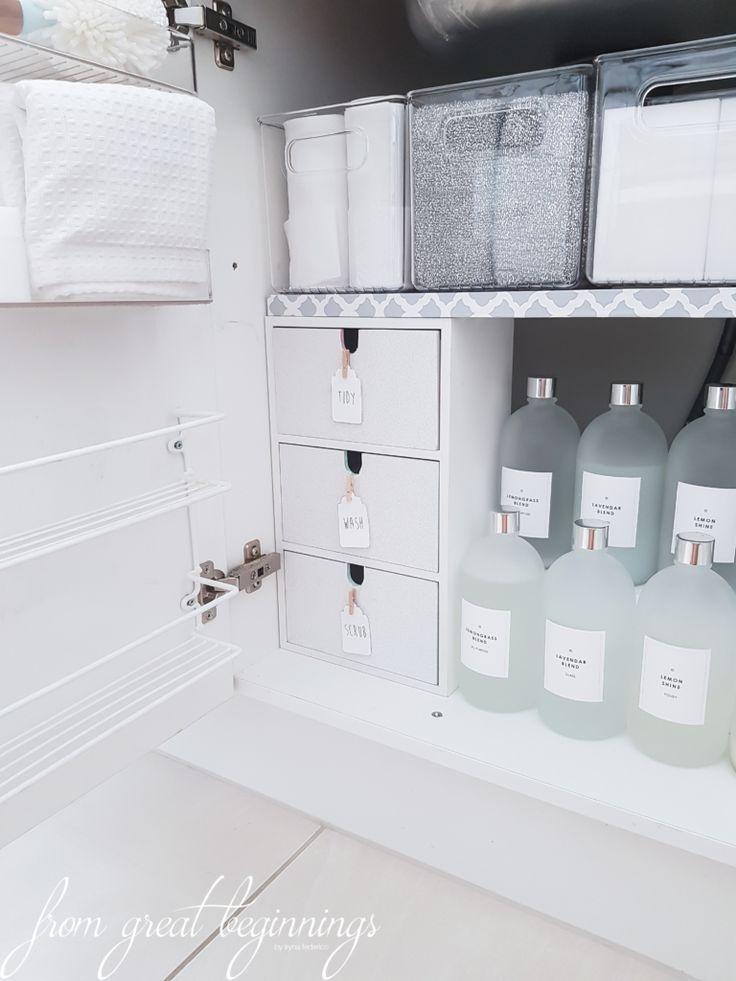 Organisieren unter der Spüle – #Küche #Organisieren #Produkte #Spüle