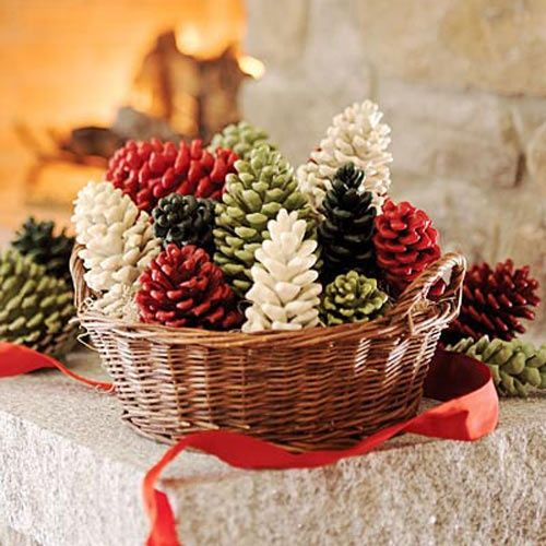 Paint some pinecones and place them in a basket for an inexpensive way to decorate for the Christmas season.