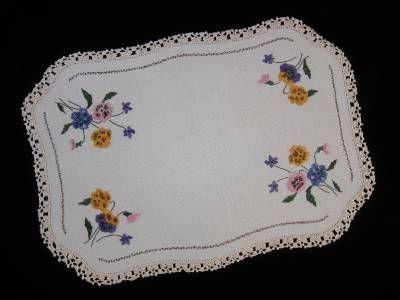 Vintage Centrepiece Doily Pansies Violets Hand Embroidered Linen | eBay
