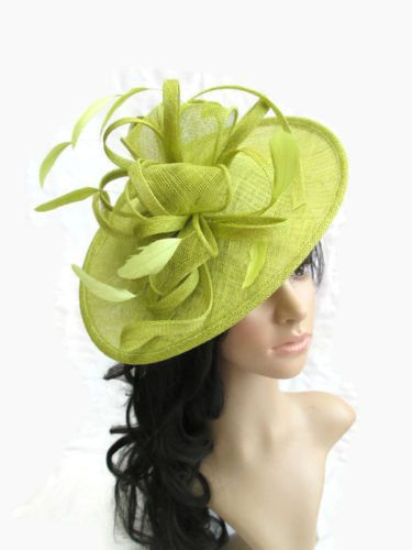 Lime-Green-Sinamay-feather-Fascinator-Hat-Shaped-saucer-disc-Wedding