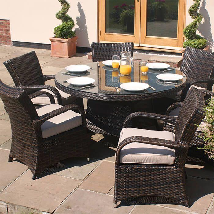 6 Seater Brown Rattan Cairo Round Table Garden Furniture Set Garden Furniture Sets Furniture Sets Garden Furniture