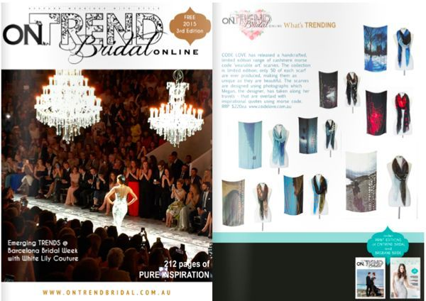 CODE LOVE featured in On Trend Bridal this July - We're really excited that Code Love is featured in On Trend Bridal this July. Check it out for some great bridal ideas!