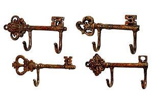 Key Wall Hooks: Keys Hooks, Wall Hooks, Hooks Sets, Closet Doors, Bathroom Hooks, Brooks Keys, Jasper Wall, Keys Wall, Skeletons Keys