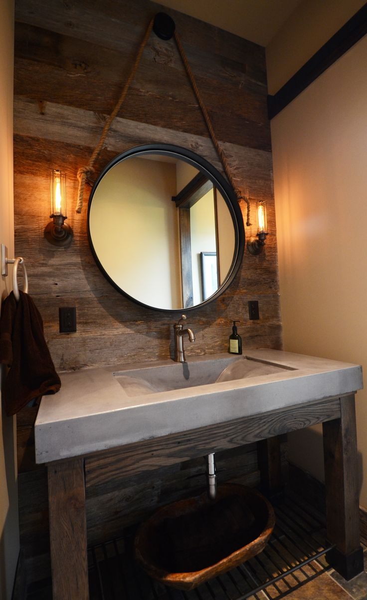Barnwood Bathroom #concrete sink I like this mix of materials