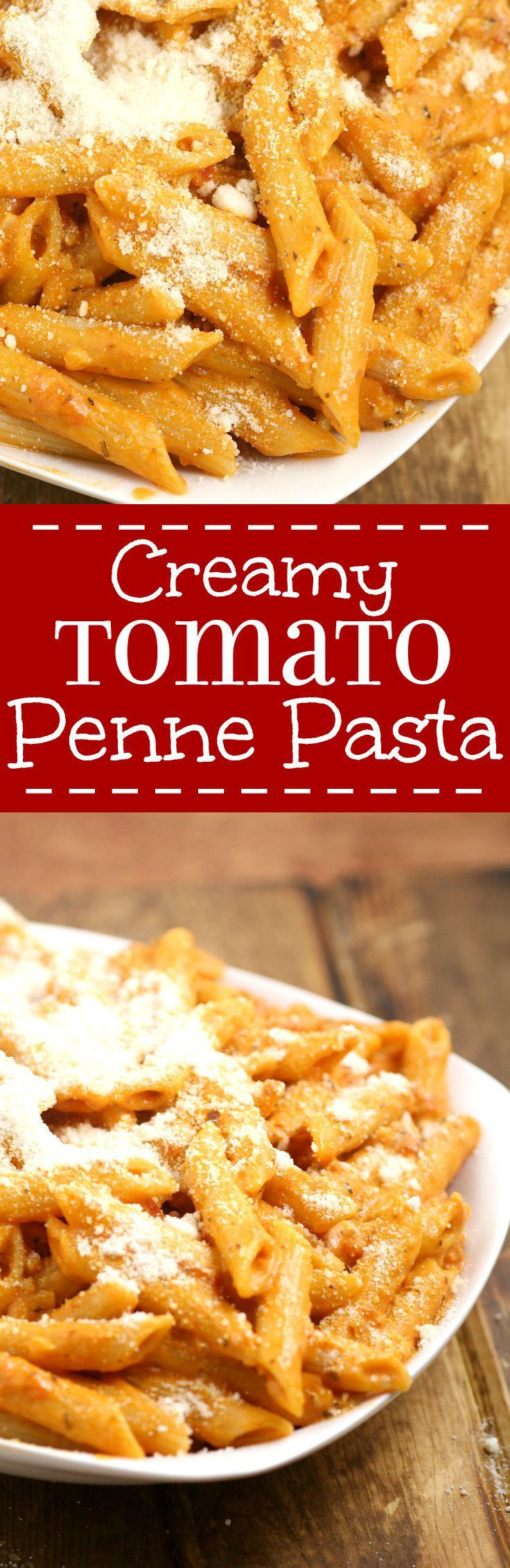 Creamy Tomato Penne Pasta - a quick and easy pasta recipe perfect for family dinner.  Creamy tomato sauce with sauteed garlic and a hint of spicy smothering penne noodles for a quick, easy, and amazingly delicious dinner.  This is seriously one of my favorites. I craved this All. The. Time. the last time I was pregnant.