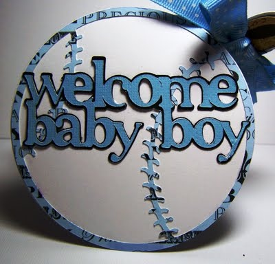 Perfect for a brand new baby boy, this handmade baseball card is sure to be a keepsake.