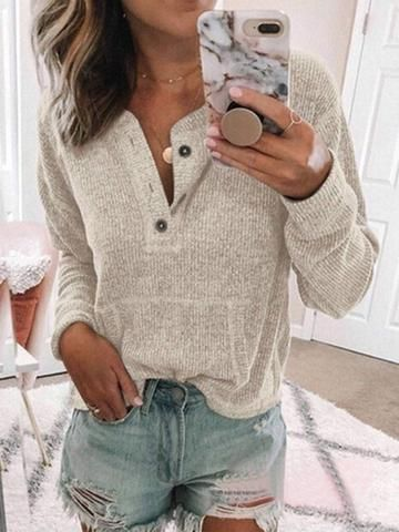 Long Sleeve Sweet Buttoned Sweaters 2