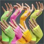 Neon Armstulpen im Netzlook für eine heiße 80er Neonparty Nacht