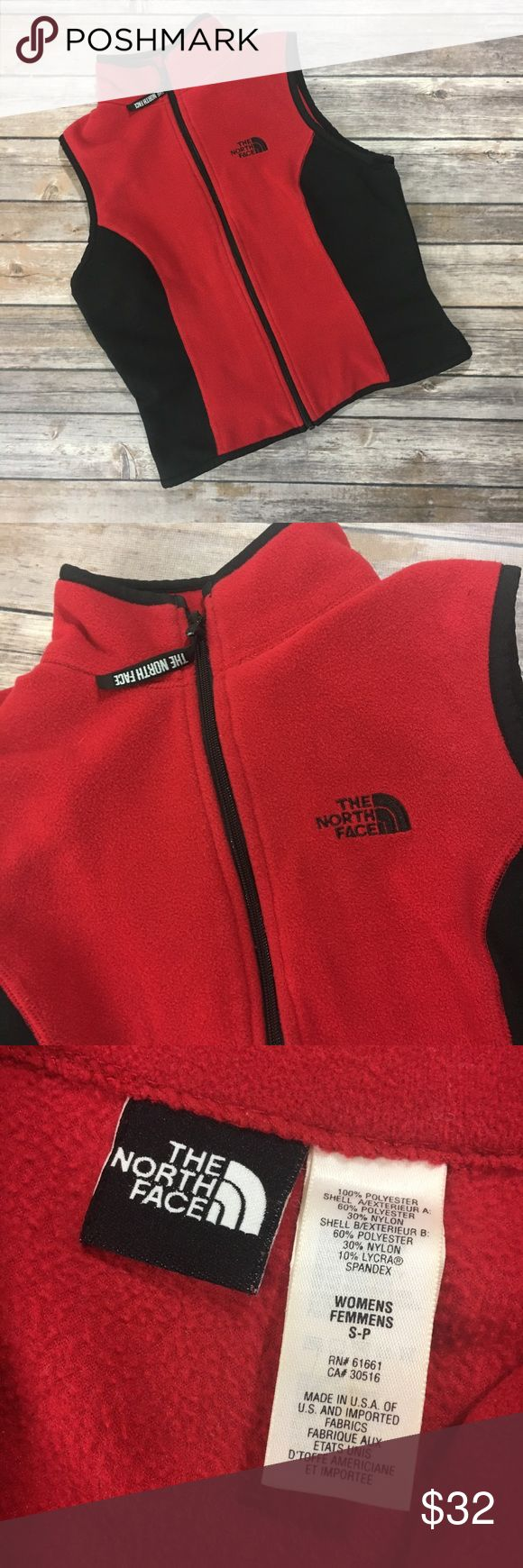 """{The North Face} Vintage Fleece Vest Sz S {The North Face} Vintage Fleece Vest Sz Small Red & Black back pocket *runs small please see measurements 🔸armpit to armpit 17""""🔸vertical length 18""""🔸Great Pre-Loved Condition🔸Some Wear & puking shown in photos 🔸questions welcomed 🔸reasonable offers always accepted 🔸as seen in pictures 🔸thank you for shopping with thrifty_nerd 🔸SKU C2 The North Face Jackets & Coats Vests"""