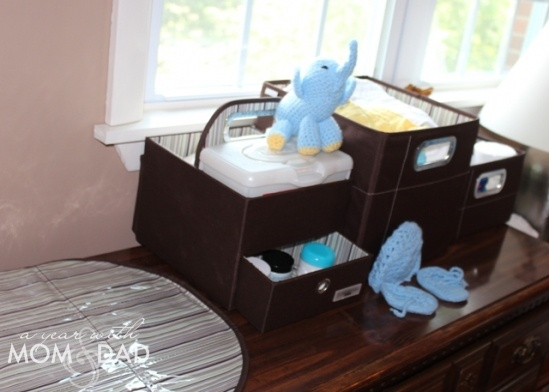 Nice Storage Set Up For Diapers Using Jj Cole Diaper Caddy