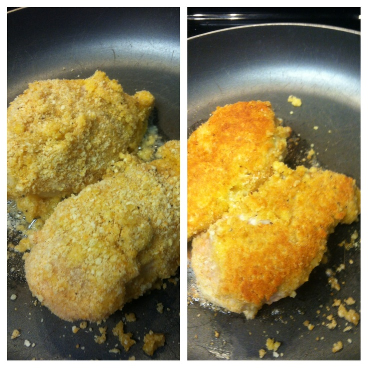 Easy healthy and delicious! Put in food processor: ritz or townhouse crackers, parm cheese, salt, pepper, and garlic powder. Dip boneless, skinless chicken breast in egg, then crumb mix. 2 tbs oil in pan, place chicken and cook thru!!!! So good!