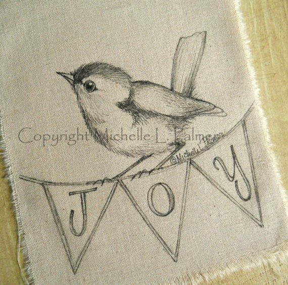 Baby Wren Bird Joy original pen ink illustration on fabric Quilt Label by Michelle Palmer