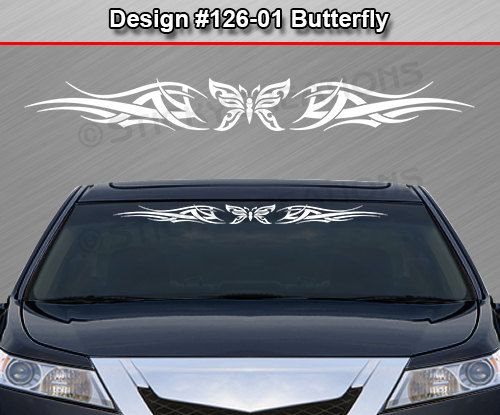 Design 126 01 butterfly tribal swoosh windshield decal sticker vinyl graphic rear back window banner tailgate car truck suv van cart wall