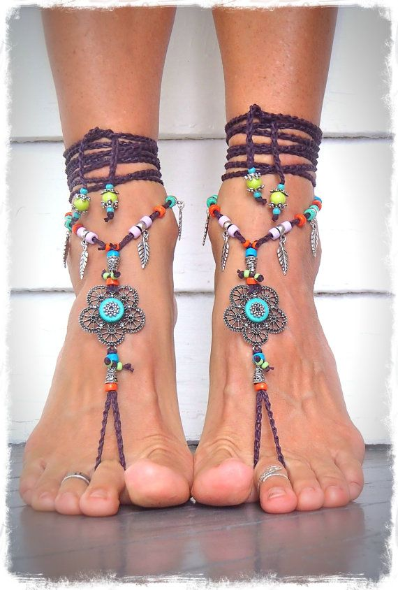 Hippie FLOWER BAREFOOT sandals colorful Gypsy Barefoot Sandal Toe Thong soleless…