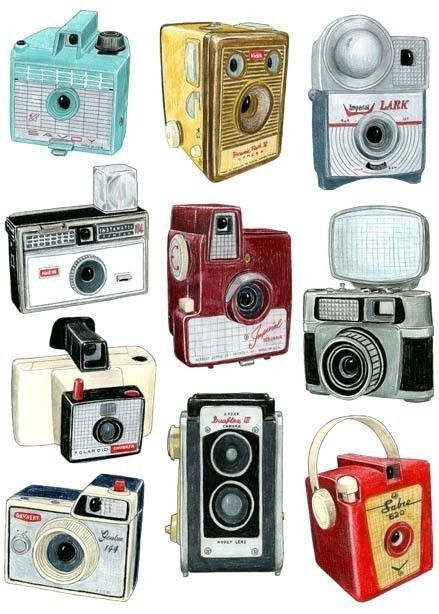 Camera drawings, graphite and colored pencil by Christine Berrie