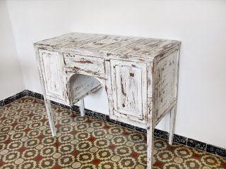 decoración vintage, antiguitats-baraturantic: Antiguo Escritorio Retro Blanco