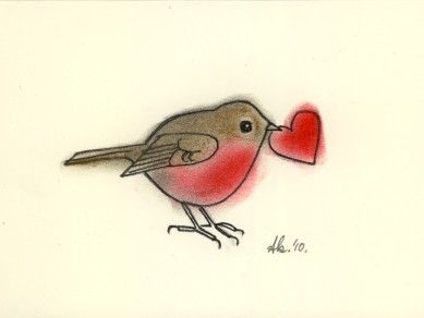 Original robin bird drawing in charcoal and pastel - Love Heart