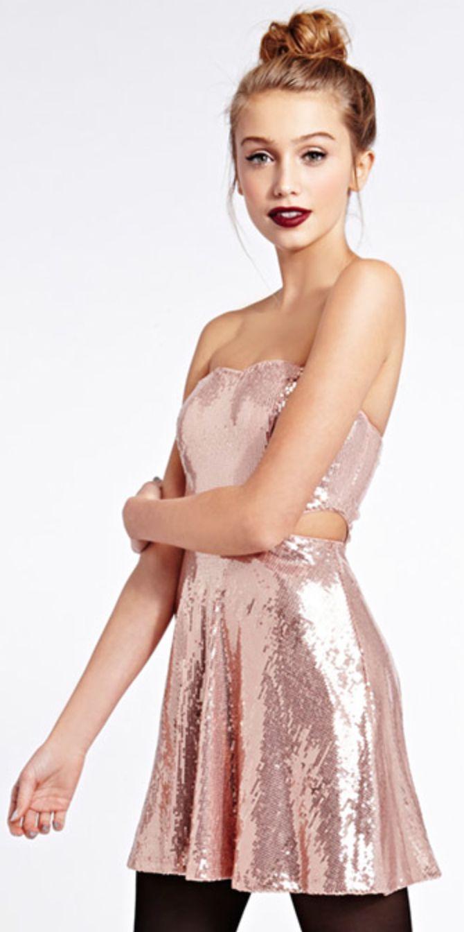 Rose Gold Sequins Dress Sparkle Pinterest Dark