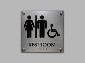 ADA Restroom Signs, with Standoffs, Houghton Series, Brushed Aluminum Look Acrylic
