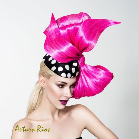 Polka dot pillbox hat with hot pink bow Pink by ArturoRios on Etsy